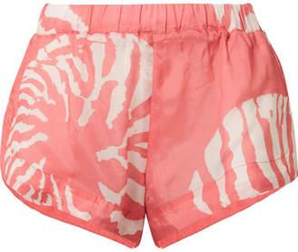 Double Rainbouu Printed Washed-satin Shorts