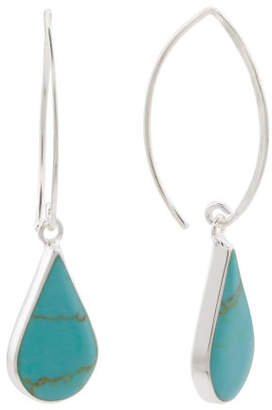 Made In Mexico Sterling Silver Turquoise Stone Drop Earrings