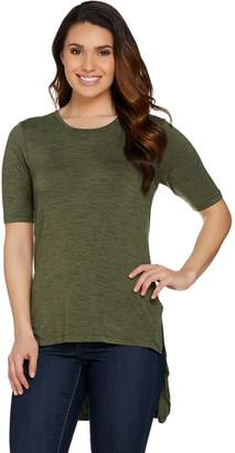 Lisa Rinna Collection Short Sleeve Knit Top with Front Slits