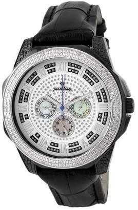"JBW Men's JB-6212L-D ""Excalibur"" Combo Black Two-Tone Multifunction Leather Diamond Watch"