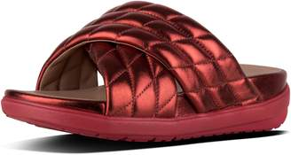 FitFlop Loosh Luxe Metallic Leather Cross Slides
