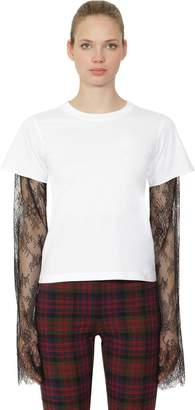 Philosophy di Lorenzo Serafini Cotton Jersey & Lace Long Sleeve T-Shirt