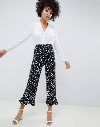 Asos (エイソス) - Asos Design ASOS DESIGN cropped pants with fluted ruffle hem in polka dot