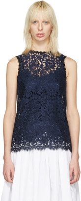 Dolce & Gabbana Navy Lace Tank Top $1,495 thestylecure.com