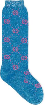 Gucci Children's cotton GG lamé socks