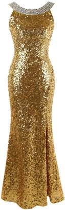 Angel-fashions Women's Round Neck Beading Sequin Backless Slit Party Dress Xlarge