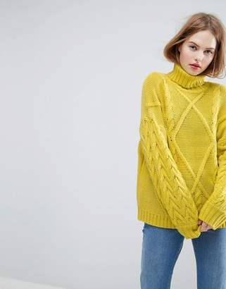 Asos Jumper In Cable And Roll Neck