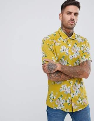 Asos DESIGN regular fit floral shirt in mustard