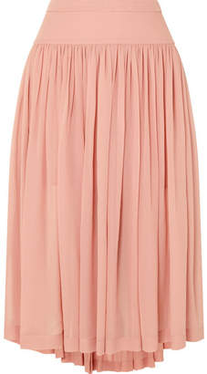 Stella McCartney Asymmetric Silk-georgette Midi Skirt - Blush
