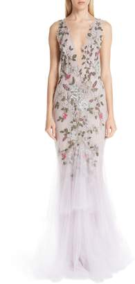 Marchesa Embroidered Floral Evening Dress