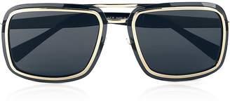 Versace Men's V-Wire Square Frame Sunglasses -Black/Gold