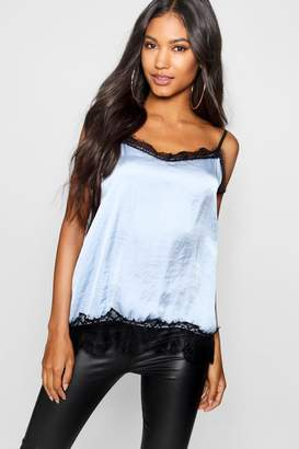 boohoo Hammered Satin Lace Detail Cami Top