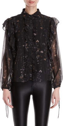Religion Luster Floral Ruffled Blouse