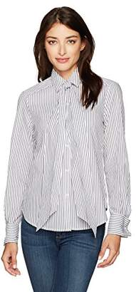 Max Studio Women's Long Sleeve Shirting with Neck Tie and Wide Cuffs