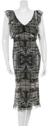 L'Wren Scott Abstract Print Silk Dress w/ Tags