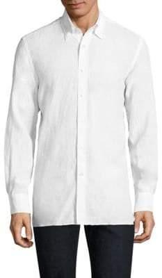 Canali Linen Casual Button-Down Shirt