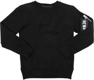 Fred Mello Logo Flocked Cotton Sweatshirt