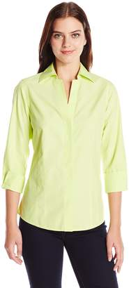 Foxcroft Women's Plus Size 3/4 Sleeve Taylor Essential Non Iron Shirt