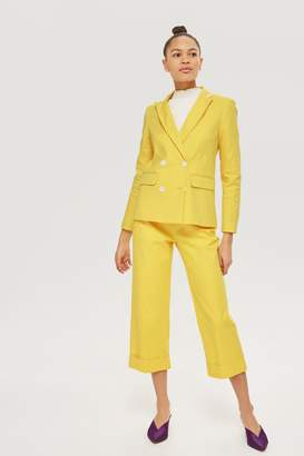 Topshop Womens Cropped Suit Trousers - Yellow