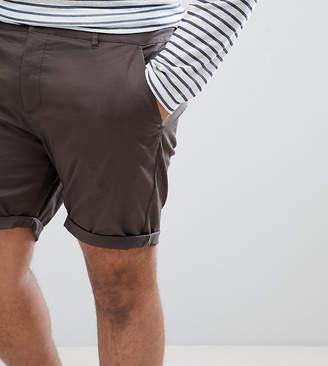 Asos DESIGN Plus Slim Chino Shorts In Dark Khaki