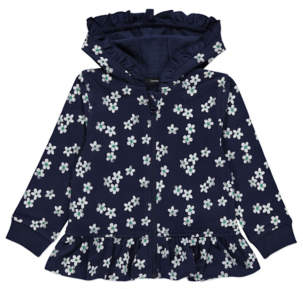 George Navy Floral Peplum Zip-Up Hoodie