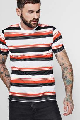 boohoo Stripe Printed MAN Embroidered T-Shirt