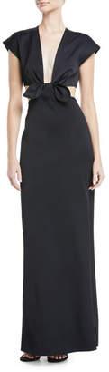 Proenza Schouler Cutout Tie-Front Gown