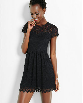 Express lace short sleeve fit & flare dress $79.90 thestylecure.com