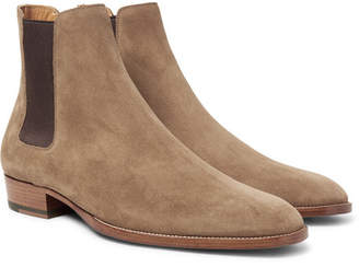 Saint Laurent Suede Chelsea Boots - Brown