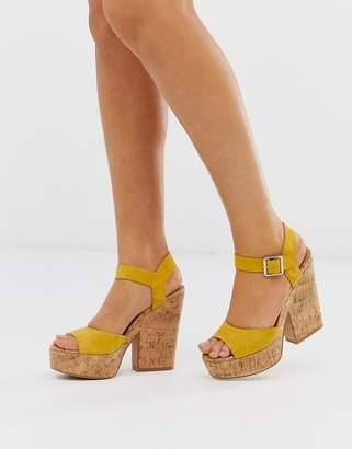 Steve Madden Jess yellow suede cork platform heeled sandals