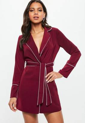 Missguided Burgundy Belted Collar Wrap Shift Dress