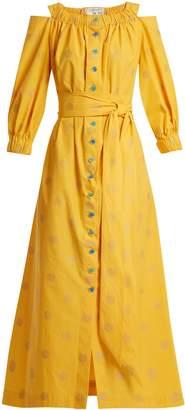 Elasticated neck spot-print cotton dress