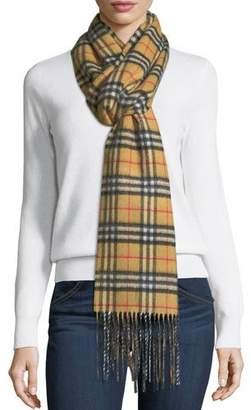 Burberry Cashmere Reversible Vintage Check Pattern Scarf