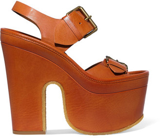 Stella McCartney - Faux Leather Platform Sandals - Camel $1,085 thestylecure.com