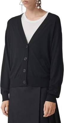 Burberry Dornoch Check Detail Merino Wool Cardigan