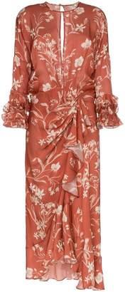 Johanna Ortiz Gardeners Edge floral print gathered silk dress