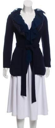 Emporio Armani Wool & Angora-Blend Cardigan Navy Wool & Angora-Blend Cardigan