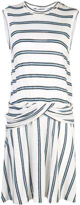 Derek Lam 10 Crosby Linen Striped Jersey Tank Dress with Twist Waist Detail