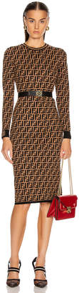 Fendi Longsleeve FF Midi Dress in Tobacco | FWRD
