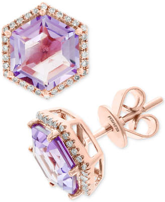 Effy Amethyst (3-3/8 ct. t.w.) & Diamond (1/6 ct. t.w.) Stud Earrings in 14k Rose Gold