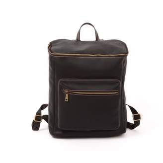 EAZO - Genuine Leather Zip Open Backpack Black
