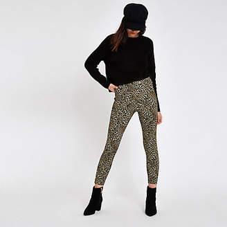 River Island Womens Brown ponte leopard print skinny trousers