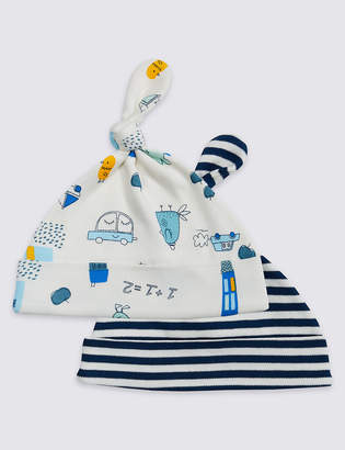 Marks and Spencer 2 Pack Pure Cotton Print Hats