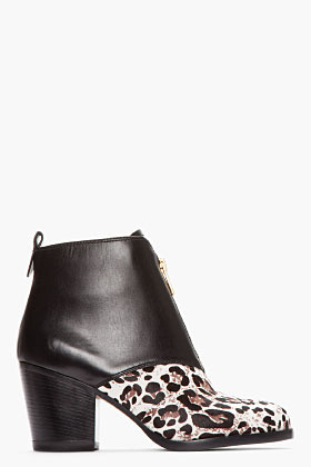 Marc by Marc Jacobs Black Leather & Leopard Print Calf-Hair Boys Meets Girl Ankle Boots