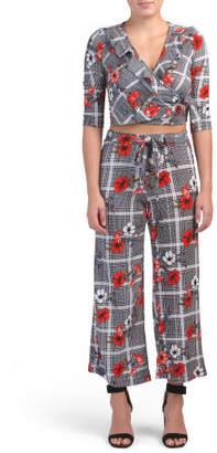 Juniors Plaid Floral Crop Top Pant Set