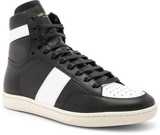Saint Laurent Signature Court Classic SL/10H Leather High Top Sneakers in Black & White | FWRD