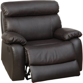 Furniture of America Barstow Leatherette XL Gliding Recliner, Brown