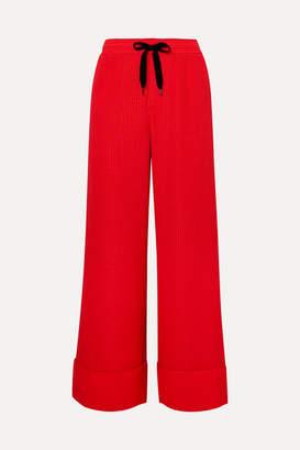 Roland Mouret Betterton Silk-satin Jacquard Wide-leg Pants - Red