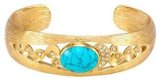 Melinda Maria Madison Bezel Set Turquoise Pave Cuff Bracelet