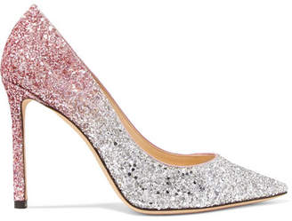 11a978a8242 Jimmy Choo Romy 100 Dégradé Glittered Leather Pumps - Silver